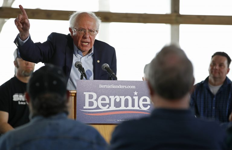 U.S. Democratic Presidential candidate Bernie Sanders speaks at a campaign event in Osage, Iowa, May 5, 2019. (Jim Young/Sipa USA(Sipa via AP Images)