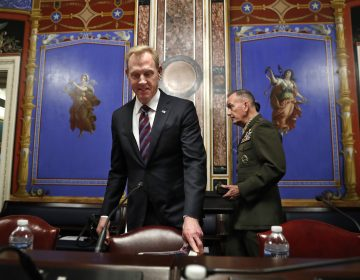 Acting Defense Secretary Patrick Shanahan, (left), and Joint Chiefs Chairman Gen. Joseph Dunford, arrive to testify at a Senate Appropriations subcommittee hearing on the defense budget, Wednesday May 8, 2019, on Capitol Hill in Washington. (Jacquelyn Martin/AP Photo)