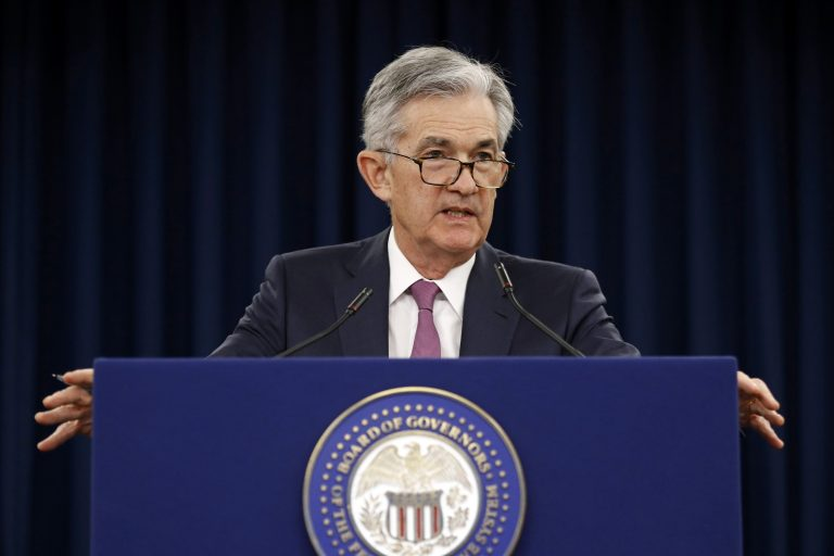 In this May 1, 2019, file photo Federal Reserve Board Chair Jerome Powell speaks at a news conference following a two-day meeting of the Federal Open Market Committee in Washington. Powell says the United States needs to find ways to address a decades-long slowdown in income growth and upward economic mobility. (Patrick Semansky/AP Photo, File)