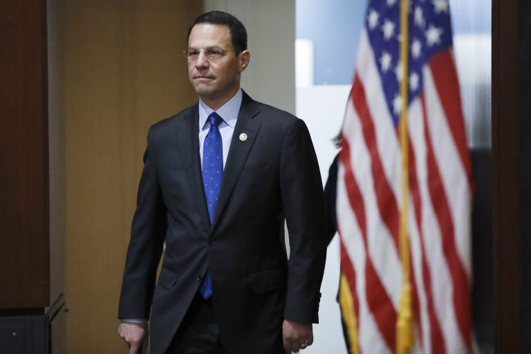 Pennsylvania Attorney General Josh Shapiro arrives at a news conference