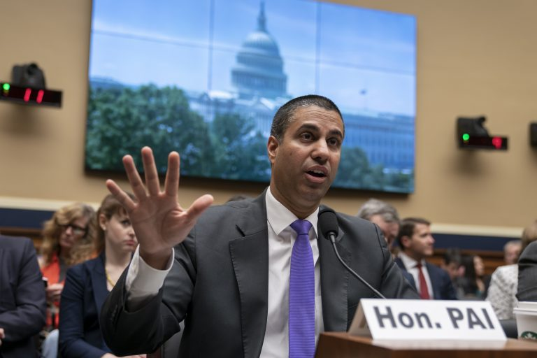 Ajit Pai, chairman of the Federal Communications Commission, testifies as the House Energy and Commerce Committee holds an oversight hearing of the FCC, on Capitol Hill in Washington, Wednesday, May 15, 2019.  (J. Scott Applewhite/AP Photo)