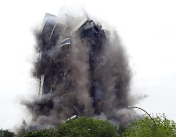 Martin Tower, former world headquarters of Bethlehem Steel, implodes Sunday May 19, 2019 in Bethlehem, Pa. Crowds gathered to watch the demolition of the area's tallest building, a 21-story monolith that opened at the height of Bethlehem Steel's power and profitability but had stood vacant for a dozen years after America's second-largest steelmaker went out of business. (Jacqueline Larma/AP Photo)