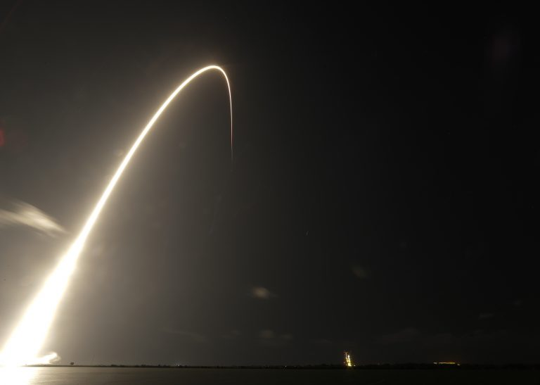 A Falcon 9 SpaceX rocket, with a payload of 60 satellites for SpaceX's Starlink broadband network, lifts off from Space Launch Complex 40 during a time exposure at the Cape Canaveral Air Force Station in Cape Canaveral, Fla., Thursday, May 23, 2019. (John Raoux/AP Photo)