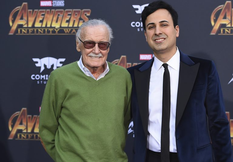In this April 23, 2018, file photo, Stan Lee, (left), and Keya Morgan arrive at the world premiere of