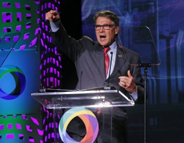 U.S. Energy Secretary Rick Perry speaks at an energy summit hosted by Utah Gov. Gary Herbert and attended by Wyoming Gov. Mark Gordon Thursday, May 30, 2019, in Salt Lake City. (AP Photo/Rick Bowmer)