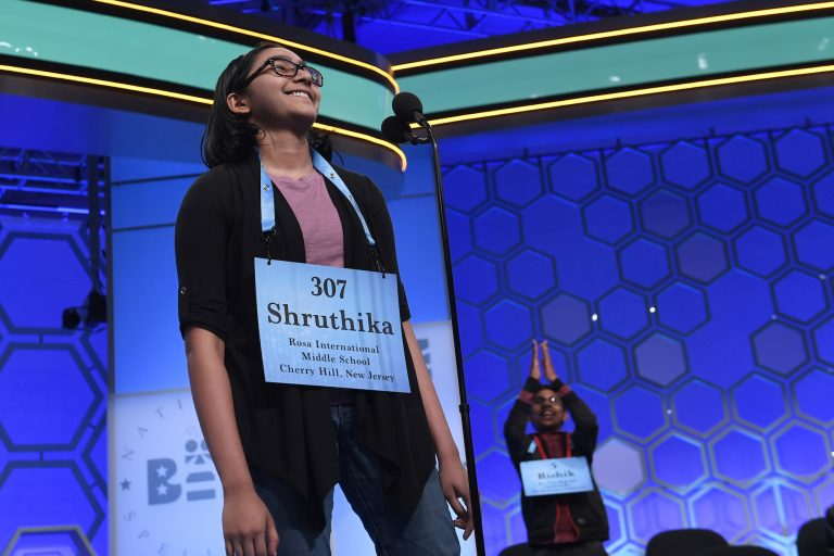 Shruthika Padhy, 13, of Cherry Hill, N.J., reacts after realizing she is one of eight co-champions of the 2019 Scripps National Spelling Bee in Oxon Hill, Md., Friday, May 31, 2019. (Susan Walsh/AP Photo)
