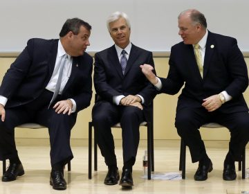 In 2014, then-Gov. Chris Christie, influential South Jersey Democrat George Norcross and New Jersey Senate President Steve Sweeney attend a groundbreaking ceremony in Camden for the KIPP Cooper Norcross Academy school. On Thursday, a task force appointed by Gov. Phil Murphy continued its investigation of a tax-incentive program established during Christie's administration. Norcross was of particular interest. (AP Photo/Mel Evans,file)