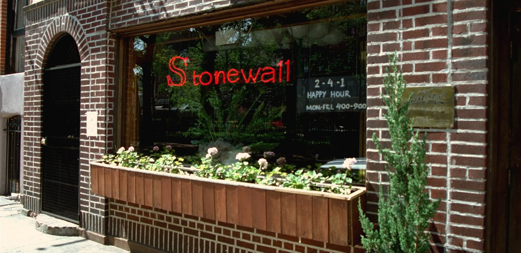 An exterior view of the Stonewall Inn in Greenwich Village section of New York, site of the 1969 riot that sparked the Gay Rights Movement.  This photo was taken in May 1994. (AP Photo/Kevin Larkin)