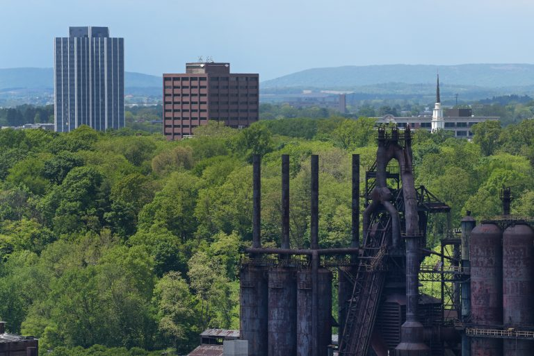 Martin Tower, the former headquarters of Bethlehem Steel, is shown days before a planned implosion. (Matt Smith for Keystone Crossroads)