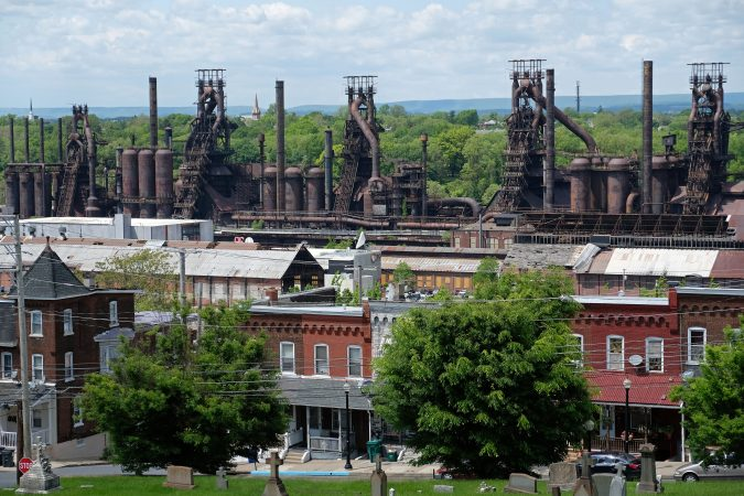 The remaining blast furnaces of Bethlehem Steel can be seen from around the city. They remain an iconic landmark of the Lehigh Valley. (Matt Smith for Keystone Crossroads)