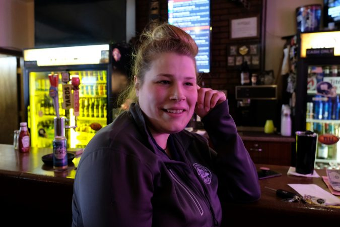 Megan Miller, a regular at Joe's Tavern, drives into Bethlehem for work. Martin Tower tells her where she is.