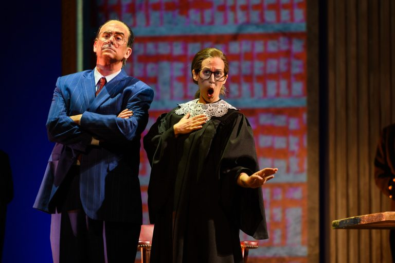 "Soprano Jennifer Zetlan stars as Supreme Court Justice Ruth Bader Ginsburg alongside her high court frenemy Antonin Scalia played by tenor Brian Cheney in OperaDelaware's presentation of ""Scalia/Ginsburg."" (Joe del Tufo/Moonloop Photography)"