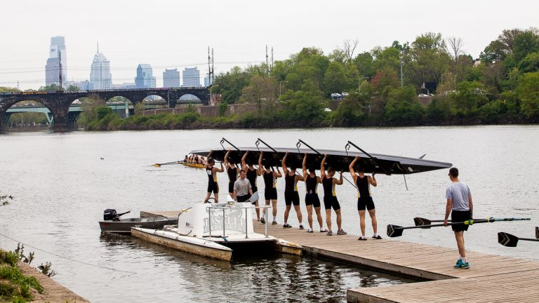 West Point Men's Crew prepares to put their boat in the water Friday during the Dad Vail Regatta. (Brad Larrison for WHYY, file)