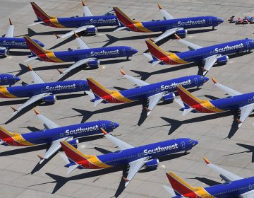 Southwest Airlines Boeing 737 Max airplanes are parked on the tarmac after being grounded at the Southern California Logistics Airport in Victorville on March 28. (Mark Ralston/AFP/Getty Images)