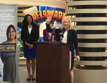 Lt. Gov. Bethany Hall-Long unveils a new ad campaign designed to reduce the stigma faced by those struggling with addiction during a press conference at the Christiana Mall. (Mark Eichmann/WHYY)