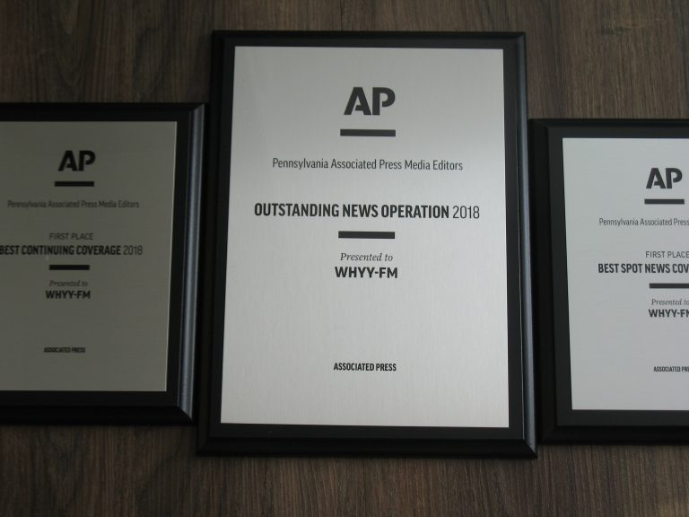 WHYY received citations for Outstanding News Operation, Best Continuing Coverage, and Best Spot News Coverage, winning the media editors' Joe Snyder Award for Outstanding News Service. (WHYY)
