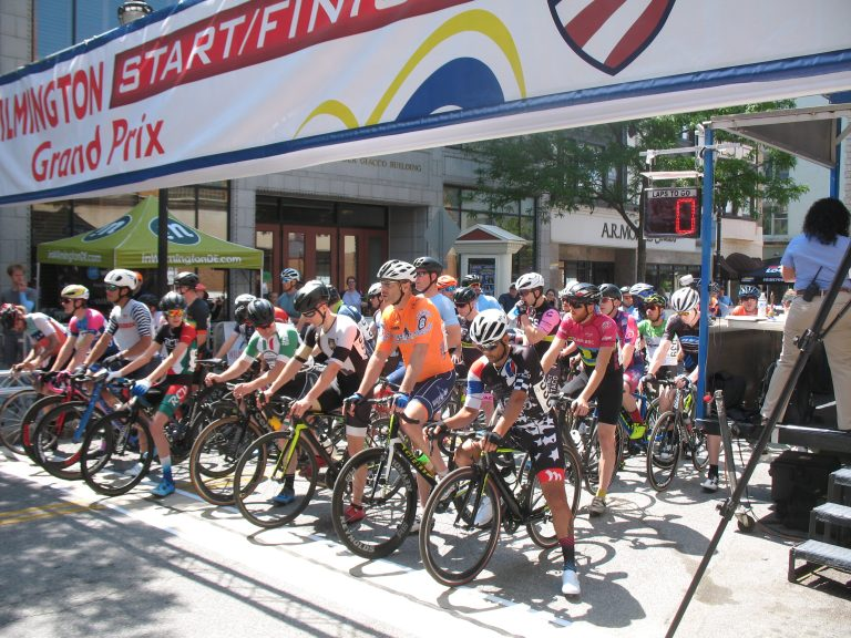 Cyclists at the starting line during the Wilmington Grand Prix on Saturday (John Mussoni/WHYY)