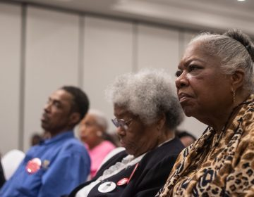 Weeks before the May 21 democratic primary, participants filled a room at First District Plaza for a mayoral forum. (Angela Gervasi for WHYY)