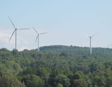 Wind turbines along the Pennsylvania Turnpike.(Pennsylvania Turnpike Comission)