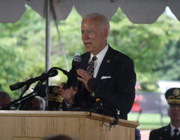 Former Vice President Joe Biden spoke Thursday morning at the annual Memorial Day ceremony near the base of the Delaware Memorial Bridge in New Castle. (Mark Eichmann/WHYY)