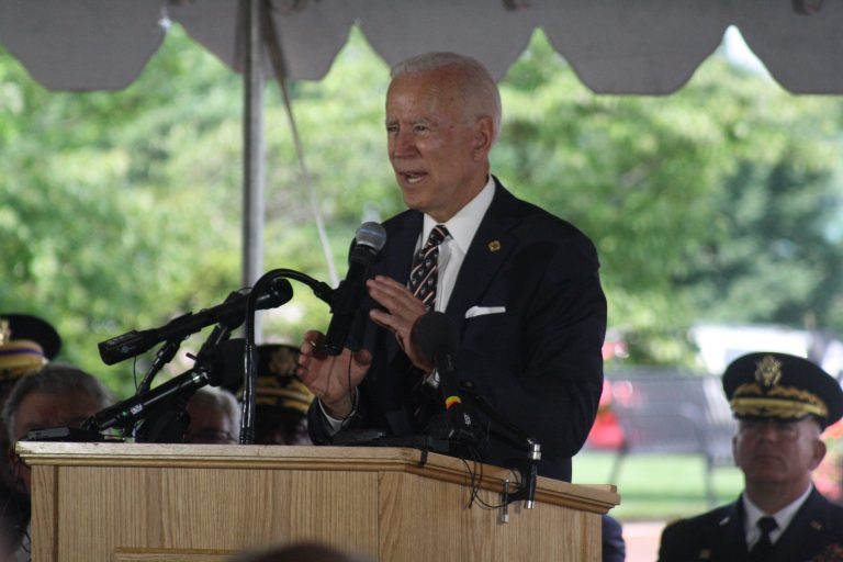 Former Vice President Joe Biden spoke Thursday morning at the annual Memorial Day ceremony near the base of the Delaware Memorial Bridge in New Castle. (Mark Eichmann/WHYY)