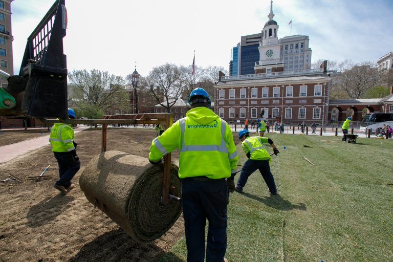 BrightView landscapers work on Independence Mall.  Brightview has been the largest employer of H2B guest workers in the country for the last several years. (Courtesy of BrightView)