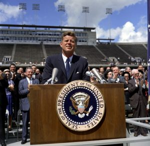 President John F. Kennedy gives a speech at Rice University about U.S. space exploration. (Photo credit: Robert Knudsen. White House Photographs. John F. Kennedy Presidential Library and Museum, Boston)