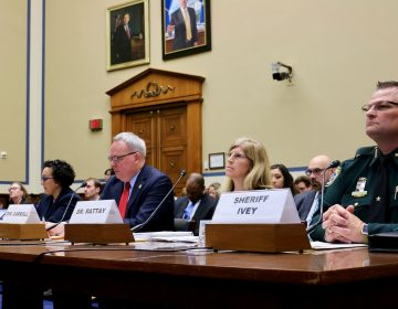 Testifying before congress, Dir. of Delaware's Division of Public Health, Dr. Karyl Rattay (center right), discusses Delaware's efforts to reduce the opioid epidemic. (Courtesy of Association of State and Territorial Health Officials)