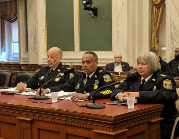 Philadelphia Police Commissioner Richard Ross, (center), testifies during a City Council budget hearing to request a $29.7 million boost in spending over last year's budget. Deputy police commissioners Myron Patterson and Christine Coulter sat alongside him on Wednesday. (Michael  D'Onofrio/The Philadelphia Tribune)