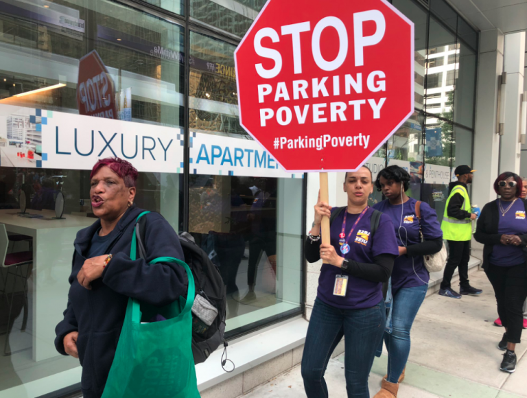 32BJ SEIU members demonstrate at a residential parking garage in Center City. (Courtesy of 32BJ SEIU)