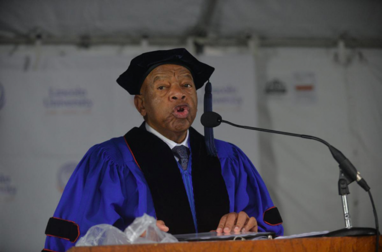 Congressman John Lewis addressed the 2019 class of Lincoln University during commencement Sunday (Bob Williams/Lincoln University)