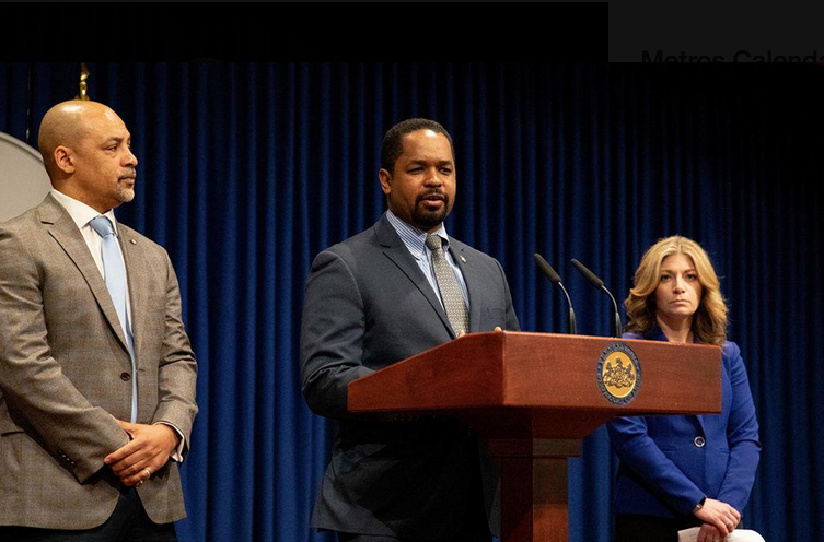 State Sen. Sharif Street, (center), along with Sen. Katie Muth and Rep. Chris Rabb shown speaking in Harrisburg on the death penalty. The three lawmakers are introducing legislation in their respective chambers to repeal the penalty. (Office of Shariff Street)