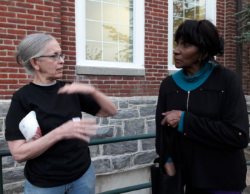 Lansdowne residents talk after a town hall meeting on Thursday about plans for a methadone treatment center on Union Avenue in Upper Darby (Samaria Bailey/The Philadelphia Tribune)