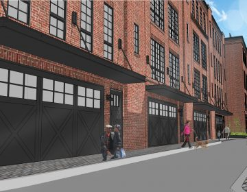 A rendering that shows the 2401 Washington Ave. from 24th Street looking west into an interior driveway. (Noah Ostroff)