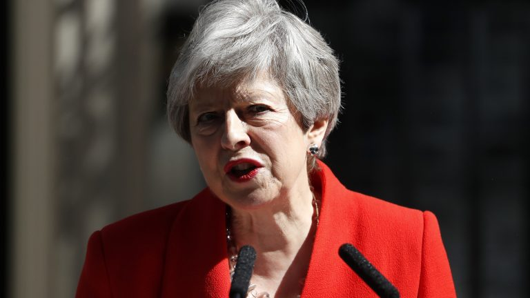 British Prime Minister Theresa May announces her resignation Friday at 10 Downing Street in London. (Alastair Grant/AP Photo)