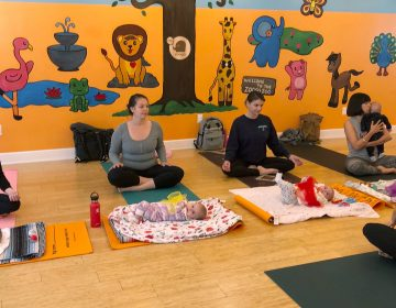In 2018, U.S. birthrates fell for nearly all racial and age groups, the CDC says. Here, mothers and babies attend a yoga class in Culver City, Calif., in March. (Jane Ross/Reuters)