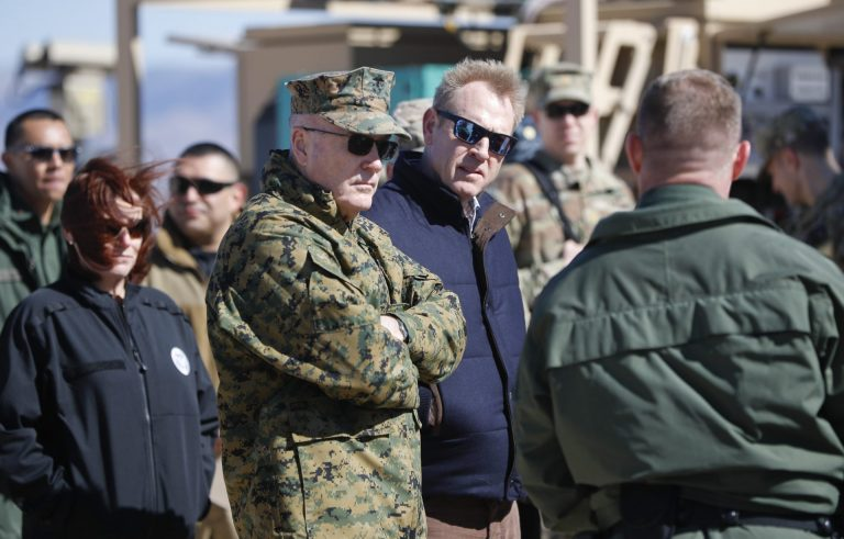 Acting Secretary of Defense Patrick Shanahan, center, and Joint Chiefs Chairman Gen. Joseph Dunford, left, tour the US-Mexico border at Santa Teresa Station in Sunland Park, N.M., Saturday, Feb. 23, 2019. (Pablo Martinez Monsivais/AP Photo)