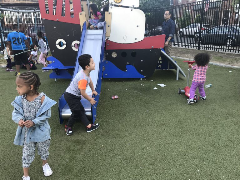 Children play at Disylvestro Playground in South Philadelphia. (Ariella Cohen/WHYY)