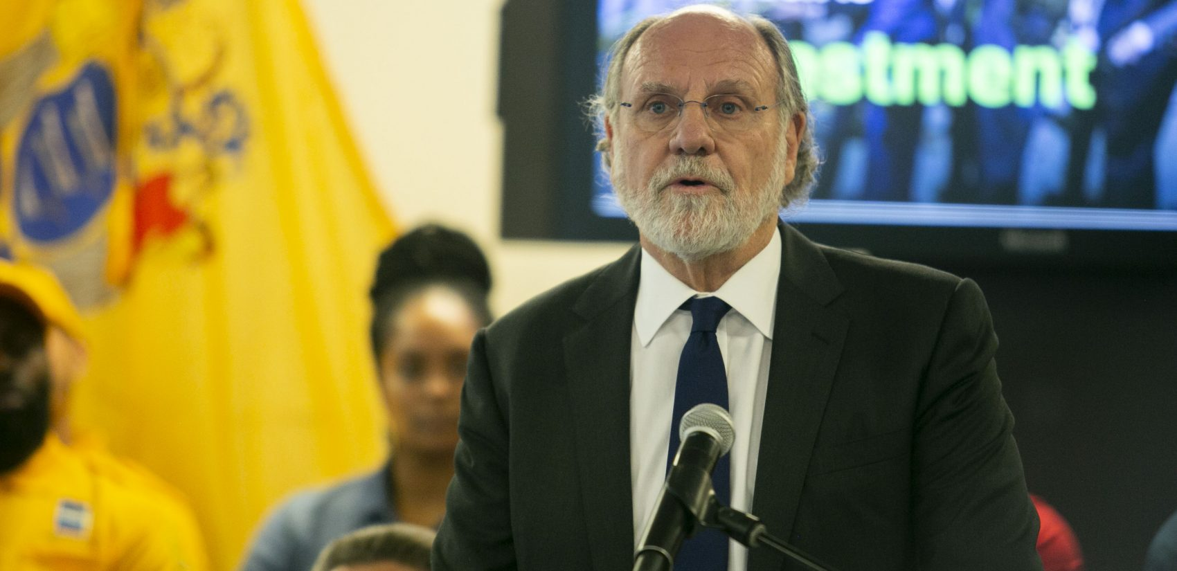 Former New Jersey Gov. Jon Corzine talks about the improvements in Camden Thursday. (Miguel Martinez/WHYY)