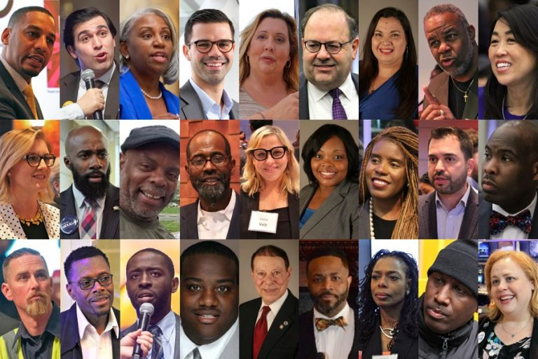 The field of Democratic city council at-large seats is crowded and diverse. (Photos from WHYY files and candidates' web pages)