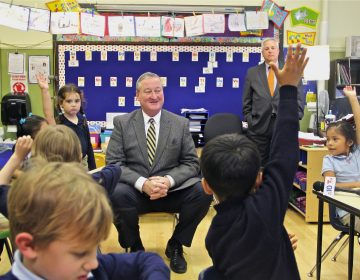 Philadelphia Mayor Jim Kenney visited a kindergarten class at Andrew Jackson Elementary School the day after being elected in 2015.  (Emma Lee/WHYY)