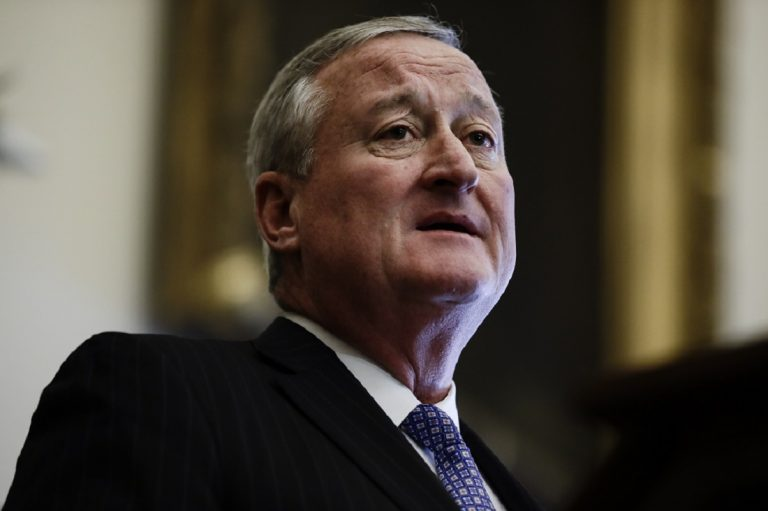 Philadelphia Mayor Jim Kenney speaks during a news conference at City Hall in Philadelphia