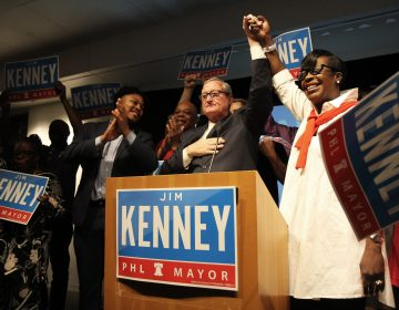 Philadelphia Mayor Jim Kenney thanks his supporters on stage Tuesday evening. (Kimberly Paynter/WHYY)