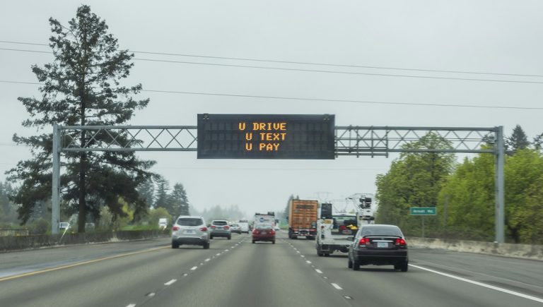Common sense says that phone use while driving is a bad idea. Yet nine out of 10 drivers admit to doing it. (Image courtesy of Oregon Department of Transportation)