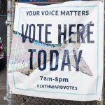 Philadelphians come out for early morning voting in the 2019 primary election in Fishtown (Brad Larrison for WHYY)