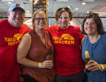 Bill Sidler, Lori Howlett, Gretchen Sidler, and Dorrie Dillagoue came together with their running group for an afternoon of tacos and drinks at Tacohocken. (Emily Cohen for WHYY)