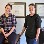 Kara McQuillan (left) and  Mac VanTilburg of the Philadelphia Midwife Collective are trying to open Philadelphia's first free-standing birth center in Germantown. (Emma Lee/WHYY)