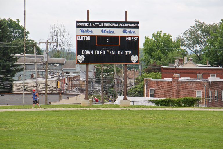 Clifton Heights athletic fields are threatened by the Upper Darby school board's plan to build a new middle school. (Emma Lee/WHYY)