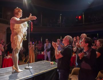 Carlotta Tendant receives a standing ovation from the audience at the conclusion of Big Mess Cabaret's