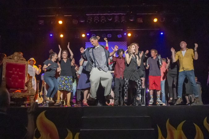 Performers stomp on the stage at the show's conclusion. (Jonathan Wilson for WHYY)